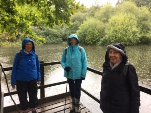 Christine and 2 Tunbridge Wells members in rain