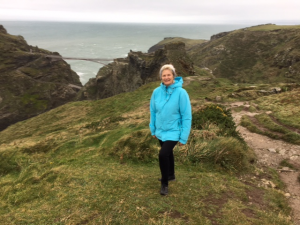 Christine at Tintagel on a windy day