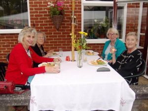 Small group at lunch on patio 14th July