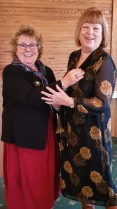 Sue Hackett receiving her Inner Wheel Badge