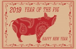 Year of the pig logo