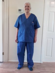 Hazel wearing the scrubs